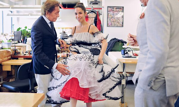 Valentino Garavani with Principal dancer of the NYC ballet in one of Valentino's costumes