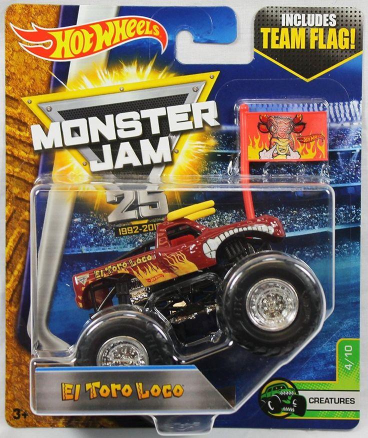 Hot Wheels Monster Jam Truck 1:64 Scale Team Flag El Toro Loco Creatures 4/10