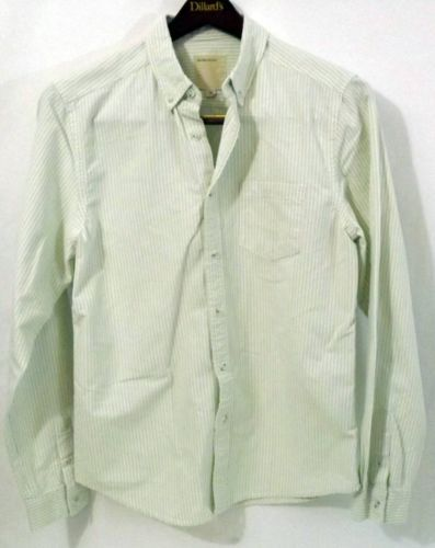 859207c9592 LN Men s life after denim M White Striped Cotton LS Button Down Shirt -