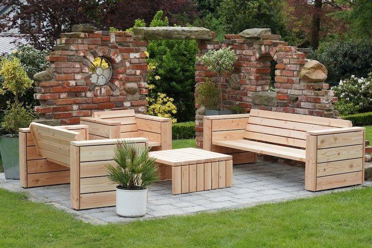 loungem bel gartenm bel set aus wetterfestem holz. Black Bedroom Furniture Sets. Home Design Ideas