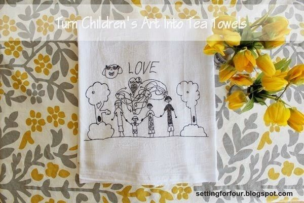 Turn their masterpieces in to tea towels or guest napkins. | 19 Genius Ways To Immortalize Your Kids' Artwork