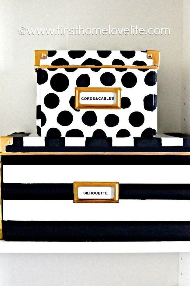 These storage boxes look like you paid ten times as much for them at Kate Spade. | 37 Cheap And Easy Ways To Make Your IKEA Stuff Look Expensive