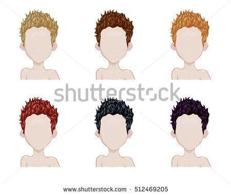 Set of female hair style sprites. Vector game design for app. short haircut