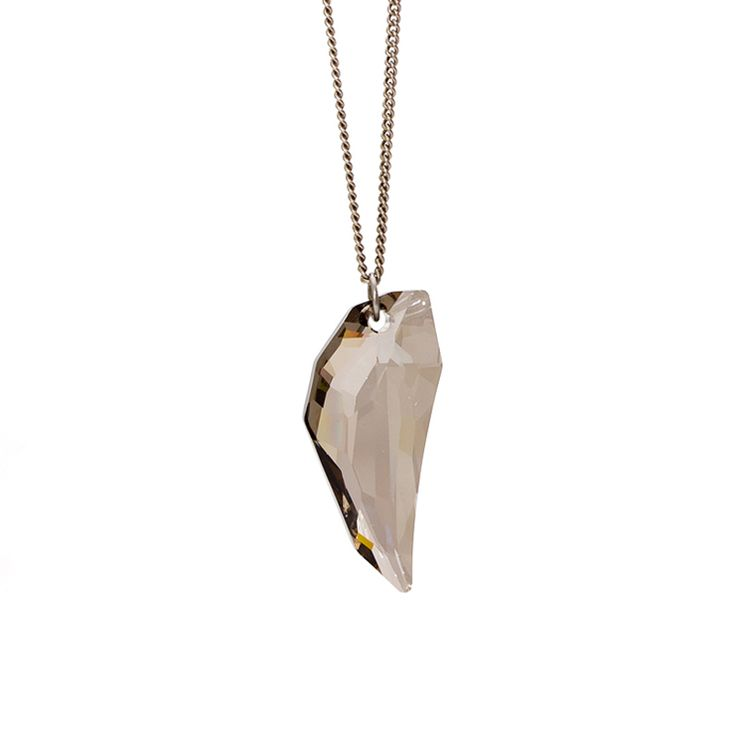 Pegasus Pendant (Smoke) - gorgeous, minimal and bold, this pendant features a large genuine Swarovski crystal pendant in smoke colour hung on a long 30 inch gunmetal curb chain. Great for formal wear or nights out.