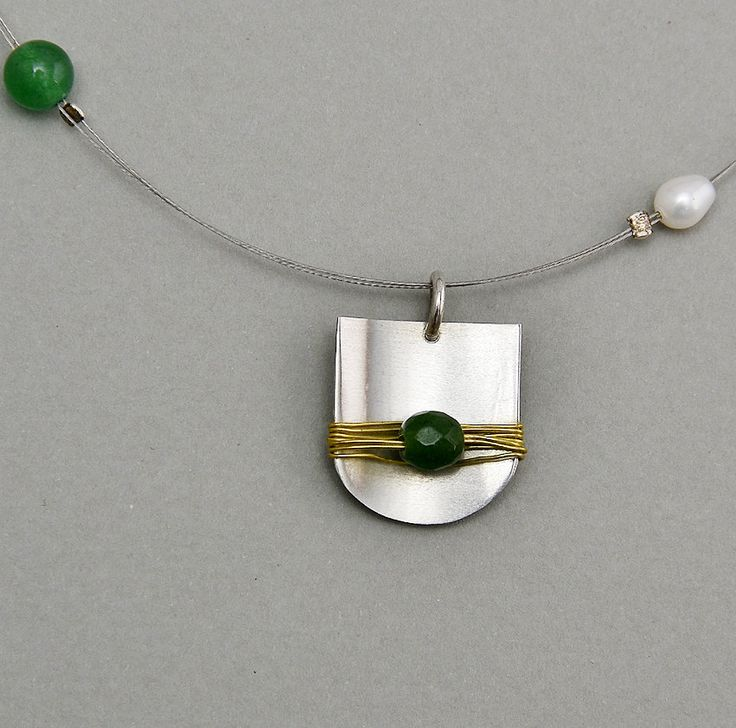 Necklace with silver mat pendant, green jade,  brass  wire, fresh water pearls, double iron cord and  silver clasp. by NataliaNorenasilver on Etsy