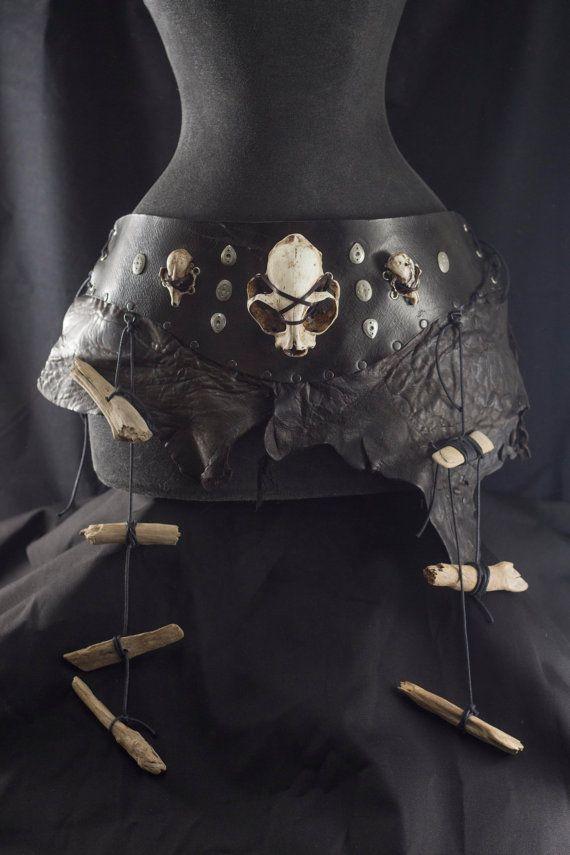 Tribal black leather belt. Cat skull belt adjustable on the sides. Female dark wasteland costume, woman warrior. Shaman witch costume larp