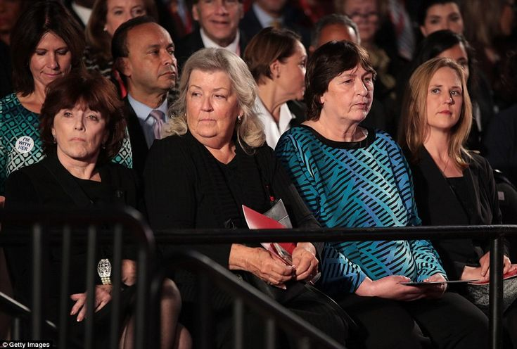 Extraordinary moment: Kathleen Willey, Juanita Broaddrick and Kathy Shelton were seated c...