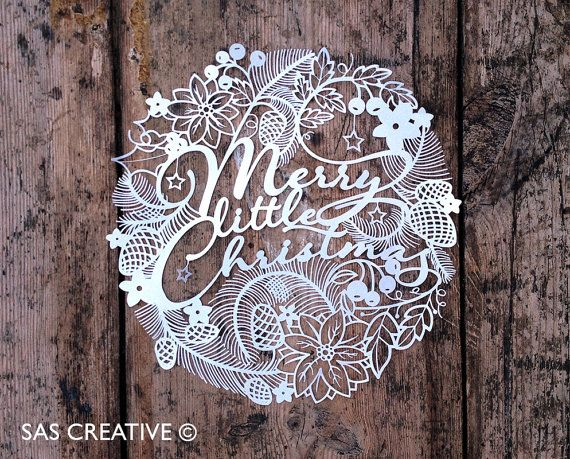 Christmas Papercut Template 'Merry Little by SASCreative on Etsy