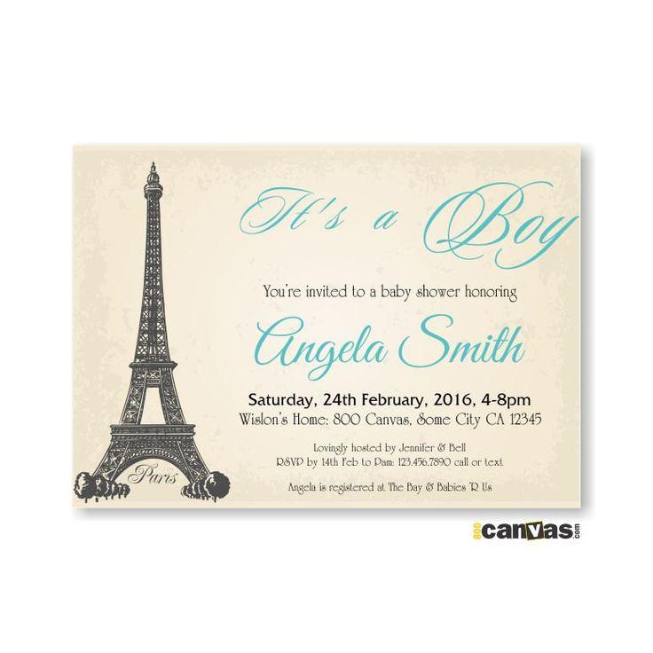 Paris Baby Shower Invitation. Rustic Vintage Eiffel Tower Baby Shower Invite. Boys Girls Baby Shower. French Theme Baby Shower Invite. BS 36 by 800Canvas on Etsy