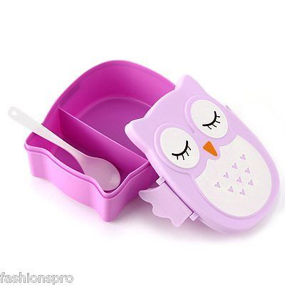 Cartoon Owl Lunch Box Plastic Storage Container Bento Microwave Oven for Kids