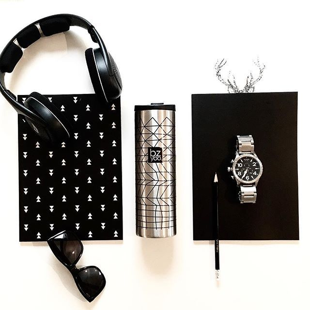 """My """"too cool for school"""" kit in black & stainless steel #bzyoo #cool #black #stainlesssteel #coffee #travel #design #designer #home #homedecor #decor #flatlay #love #beauty #beautiful #menstyle #fashion"""