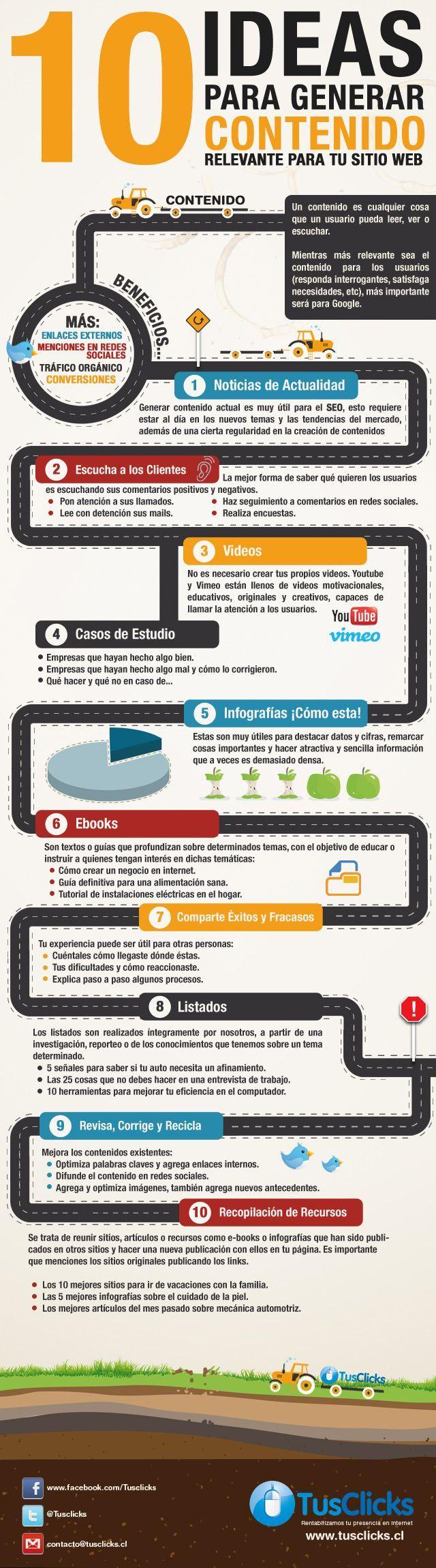 10 ideas para generar contenido relevante para tu sitio Web. #Infografía en español:
