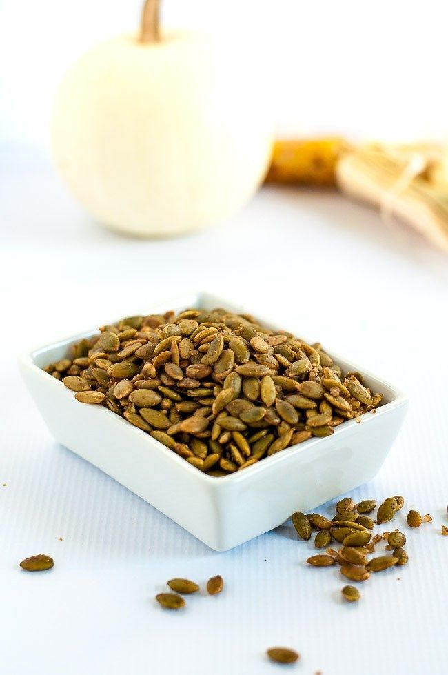 Spiced Pumpkin Seeds make a healthy snack, an addition to a cheese platter, or a garnish for soup or salad. They're mildly salty with a kick from chipotle peppers! |www.flavourandsavour.com
