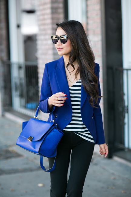 Casual :: Navy blazer & Comfy sneakers :: Outfit ::  Top :: Zara blazer , J.Crew top Bottom :: Gap Shoes :: Isabel Marant Bag :: Celine Accessories :: Karen Walker sunglasses, Tory Burch watch, Brandy Pham bracelets Published: April 19, 2015