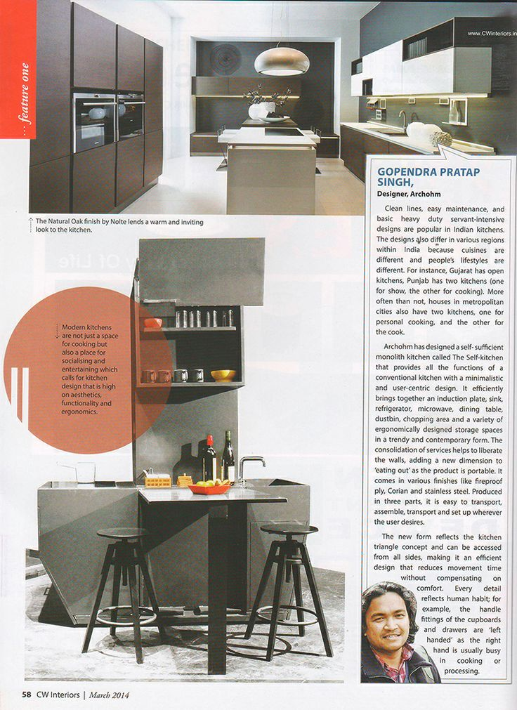 Self.Kitchen designed by @archohm gets published in CW Interiors, March 2014. #Kitchen #UniqueDesign