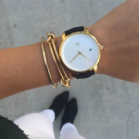 Gold/Black Leather   MVMT Watches