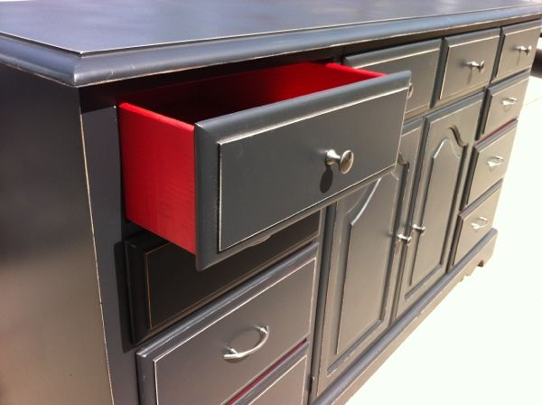 Black and red dresser. Hmmm, kitchen cabinets?