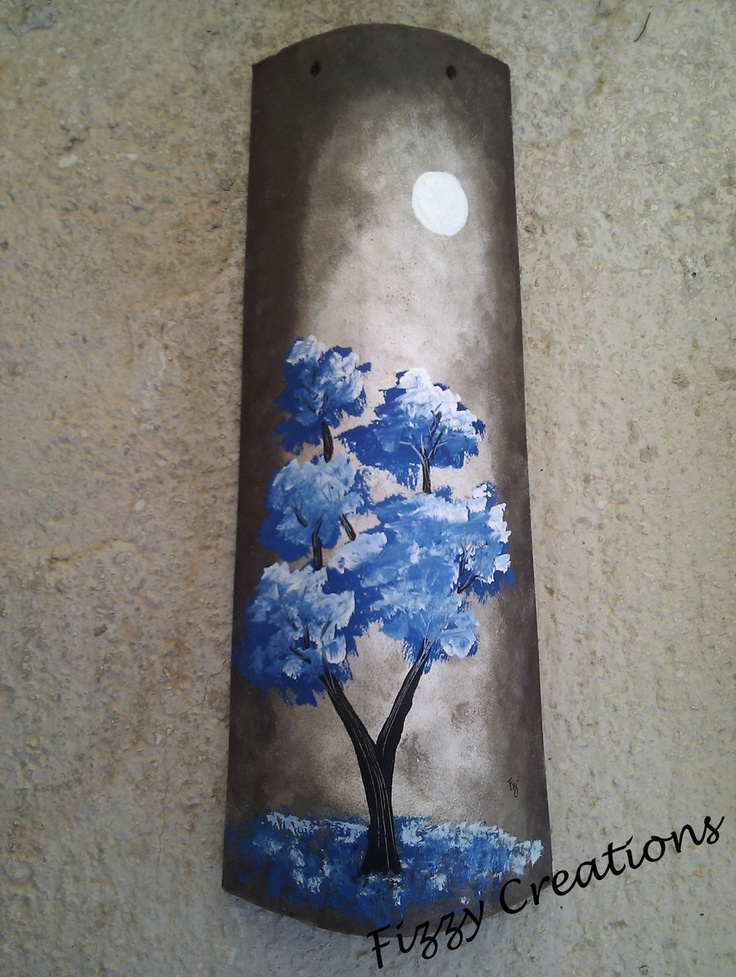 Acrilic painting on an old Mediterranean roof tile by ExoticaFizz.deviantart.com, more on http://www.facebook.com/FizzyCreations