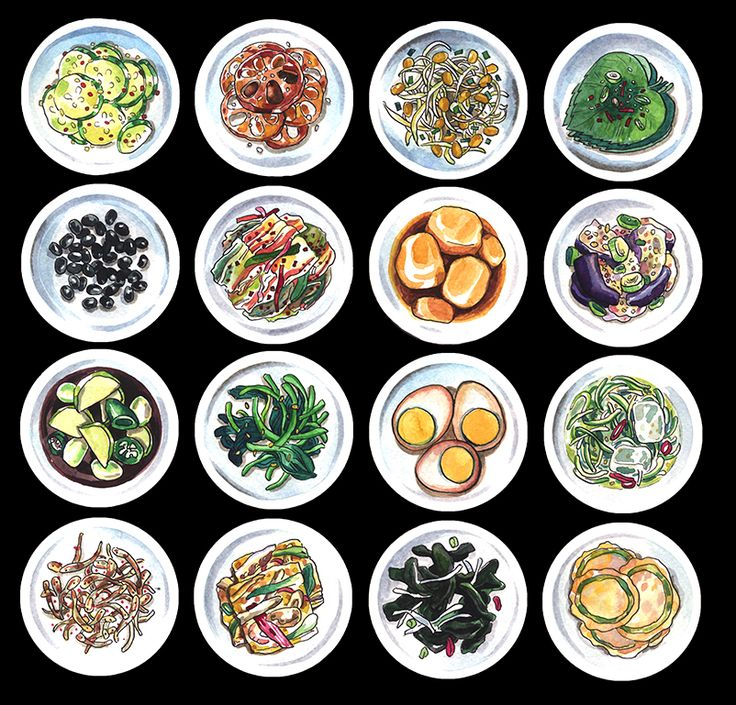Banchan, Korean side dish illustration Check out my Korean recipe comic blog: http://banchancomic.tumblr.com/ Prints available: http://robinhaart.storenvy.com/