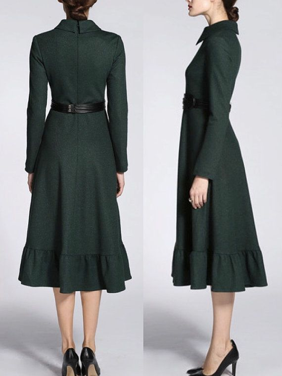 Green Wool Dress Long Sleeves Winter Dress Elegant Vintage Style Fashion Midi Dress Office Lady Beautiful Dress Original Design on Etsy, $149.99