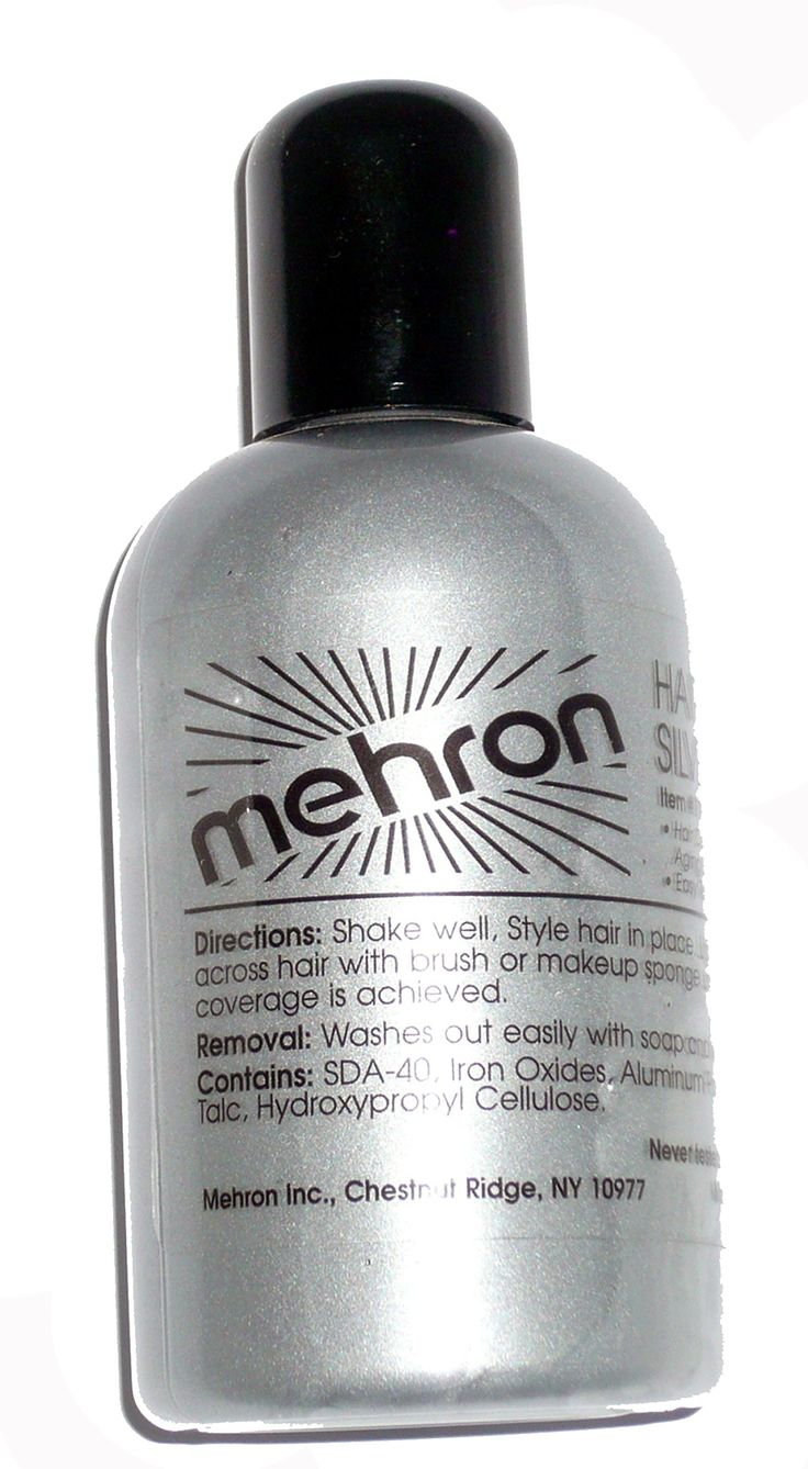 119 (4.5oz, Silver) Hair Color. Mehron Liquid Hair Color. Hair White and Hair Silver are Professional Performance coloing used by the Makeup Artists of the Entertainment Industry to achieve a natural aging look in performer's hair. formulated to be a safe non-toxic hair coloring that can be used night after night for long Performance Engagements.
