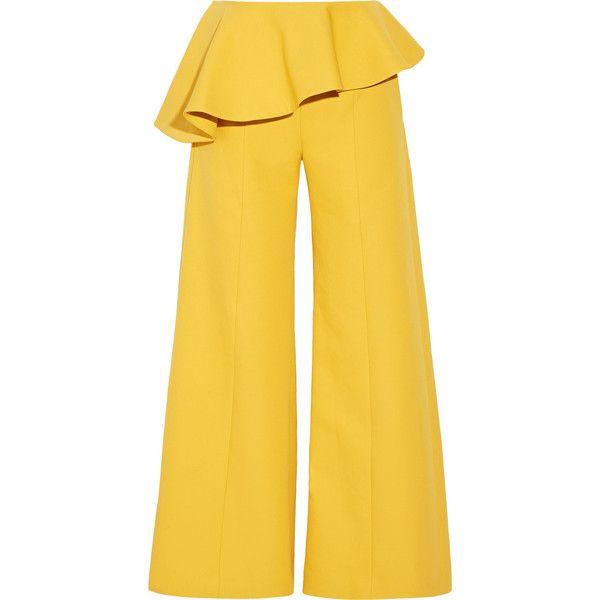 Rosie Assoulin Bearded Iris peplum cotton-twill wide-leg pants found on Polyvore featuring pants, rosie assoulin, bottoms, trousers, wide leg pants, peplum pants, cotton twill pants, cuff pants and yellow pants