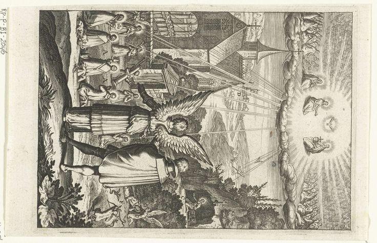 Embleem met engel die aan man toont dat hij moet leven naar het voorbeeld van heiligen, Boëtius Adamsz. Bolswert, 1620