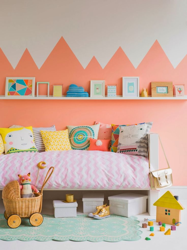 for the kid's room // bright salmon on the walls!
