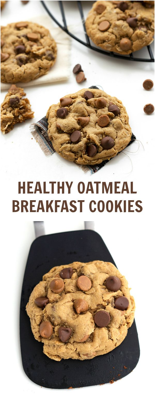 No butter, oil, or white sugar in these healthy oatmeal breakfast cookies #cleaneating #healthy #breakfast #onthego