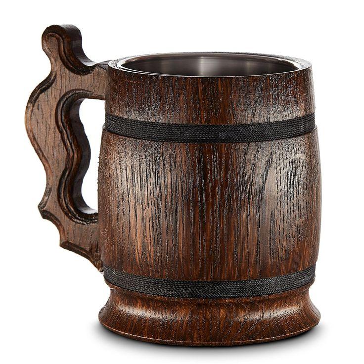 Boccale da birra in legno - in quercia - fatto a mano con sorprendente maestria e materiali di qualitŕ - foderato in metallo - Resistente - Robusto - Di Lunga Durata: Amazon.it: Casa e cucina