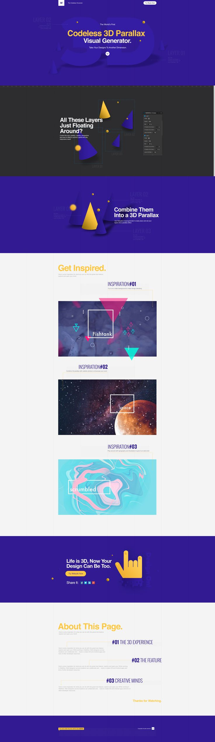 See more examples here: http://www.webydo.com/blog/web-design/parallax-scrolling/11-insanely-creative-examples-of-3d-parallax/ #3D #parallax #css #3dtransforms #webdesign #design #websitedesign #3dparallax #animation #illustration #video #graphicdesign #graphic #purple #yellow #webydo