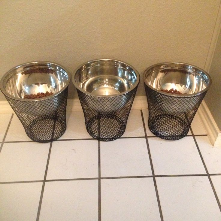 Elevated dog feeding station using 3 mixing bowls and 3 wire trash cans from the dollar store.