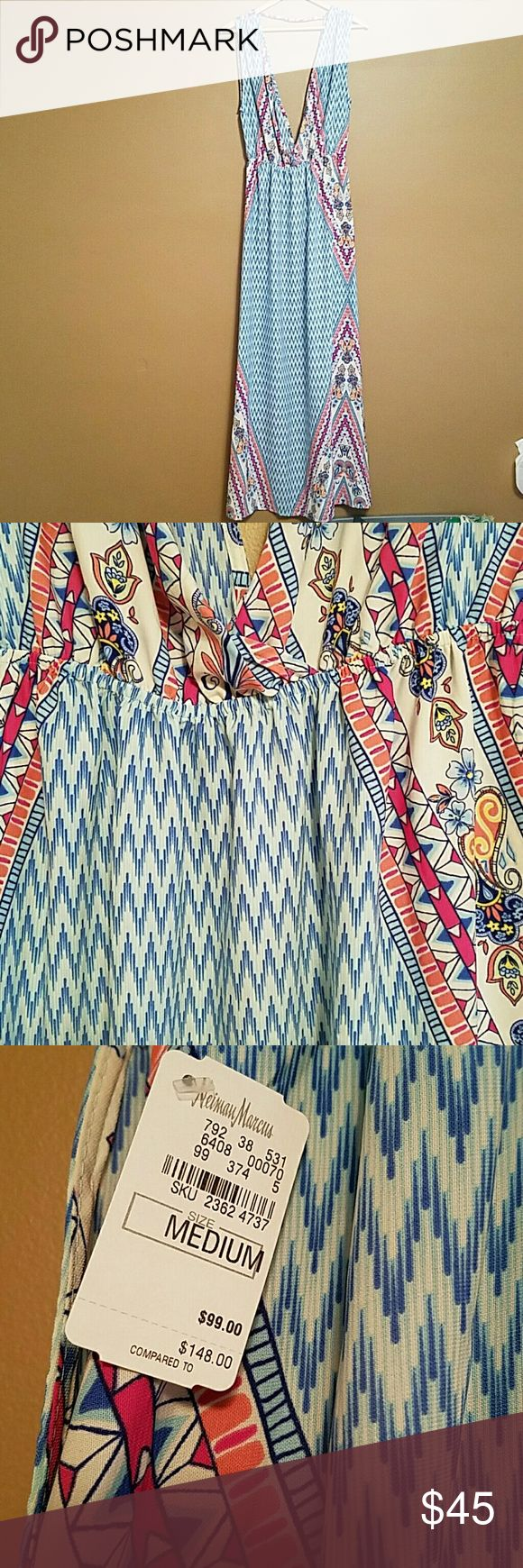 NWT Neiman Marcus Maxi Dress M Brand new with tags dress from  Neiman Marcus. Plunging neckline and gathered waist. Absolutely perfect for a summer date!!! Neiman Marcus Dresses Maxi
