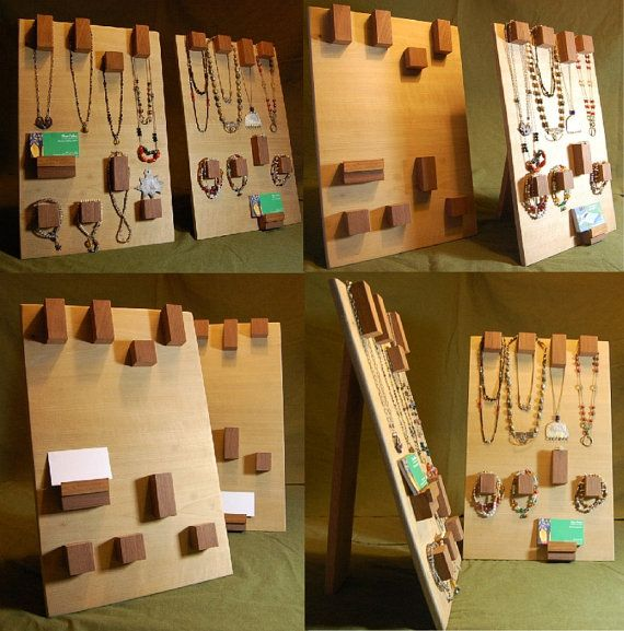 Modern Raw Wood Jewelry Display  Geometric Hooks  by 3crows, $70.00