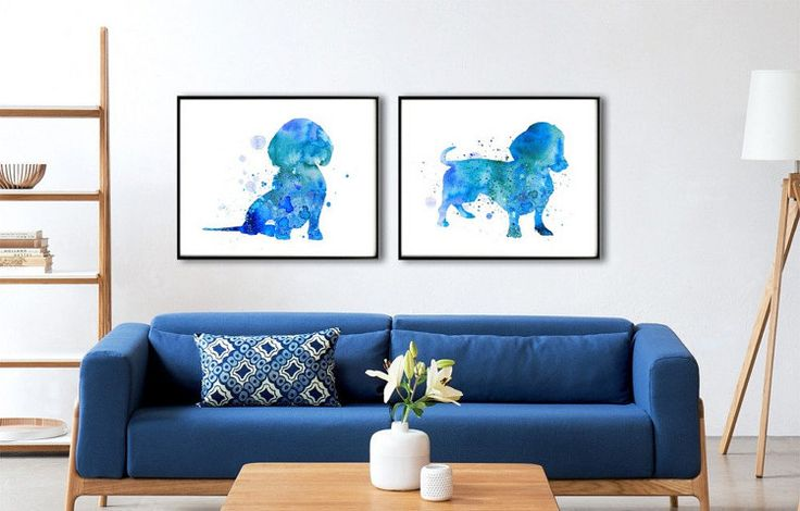 Set of two Watercolor Art Prints Dachshund Print Home by QPrints