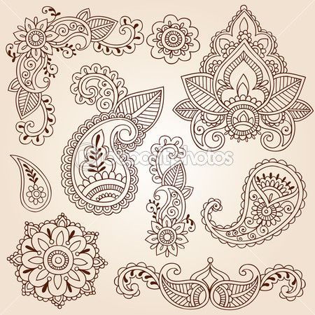 Henna Mehndi Paisley Flowers Doodle Vector Design Elements — Stock Vector © blue67 #8410127