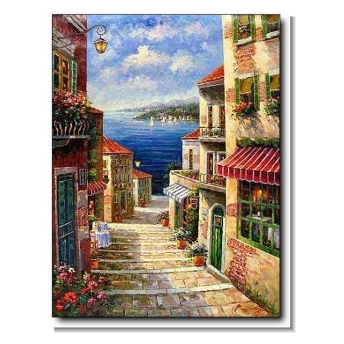 Italian Mediterranean Seascape Old Town Beach-152 Impressionist Landscape Oil Painting Canvas Art
