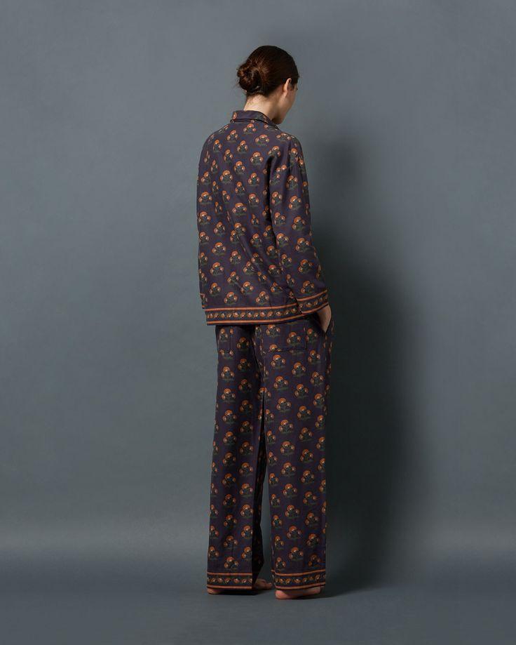 MUGHAL FLOWER FLANNEL PYJAMA | Traditional, easy pyjamas in warm, brushed cotton flannel.