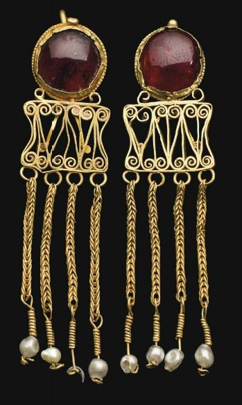 Pair of Roman Gold and Garnet Earrings | ca. 2nd - 3rd Century AD. - Turn around your jewelry buying experience! Read how at http://jewelrytipsnow.com/these-tips-can-turn-your-jewelry-experience-around/