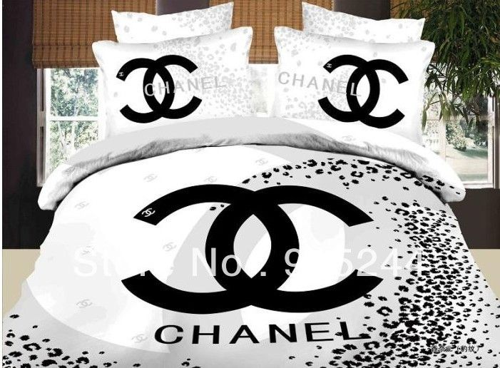 Brand  cotton 4PCS 3D Bedding set Luxury Famous Logo Words Black and White bedding duvet quilt cover bedrug mattress bedclothes $66.80 - 69.80