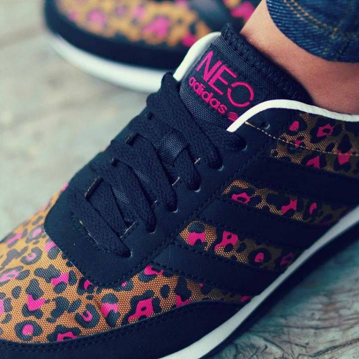 adidas neo kicks with pink leopard accents shoes