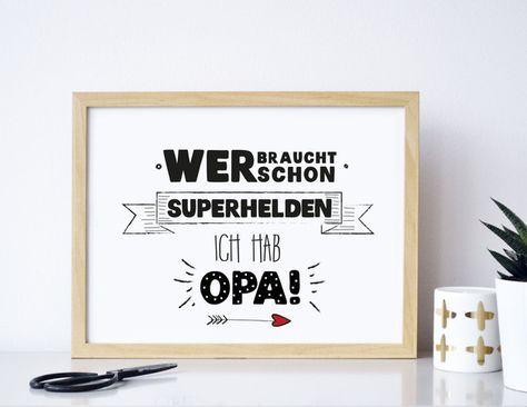 Superhelden Opa: Poster mit witzigem Spruch als Geschenk für den Großvater / grandpa my superhero: poster with funny saying as present made by Formart Zeit fuer schoenes via DaWanda.com