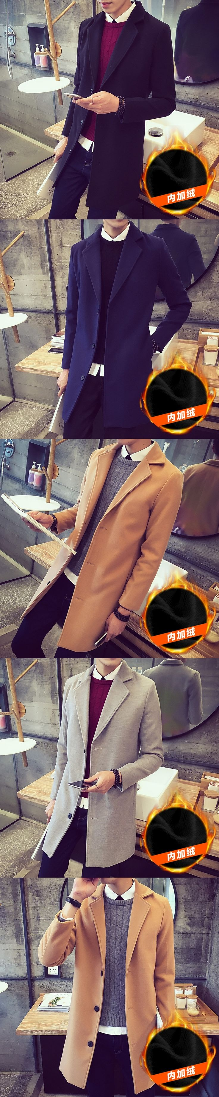Men Long Trench Coats Double Breasted Jacket Man Coat Mens Short Fashionable Large Size Mainly Male Winter Wool f20+