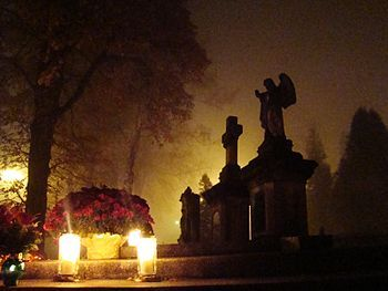 All Saint's Day in Poland - November 1st 2011.  Flowers and lighted candles to honor the memory of deceased relatives.
