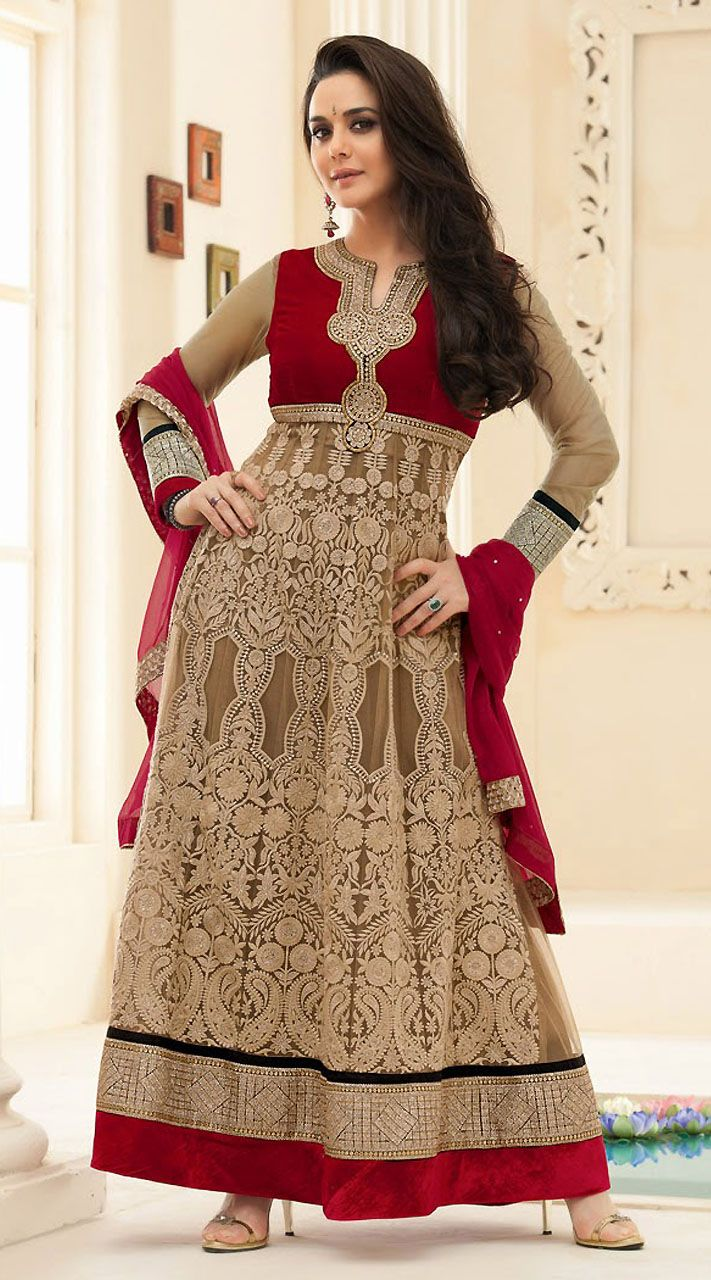Preity Zinta Khaki Brown Full Embroidered Bollywood Salwar Kameez