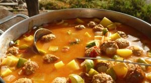 Albondigas Soup recipe -- little meatballs with potato and zucchini in beef broth. Great for winter meal!