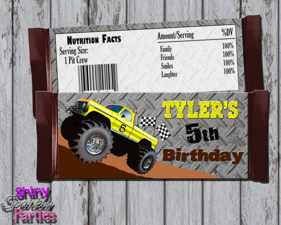 Printable MONSTER TRUCK CANDY Bar Wrappers by ShinySparklyParties Monster Truck Birthday Monster Truck Party Ideas