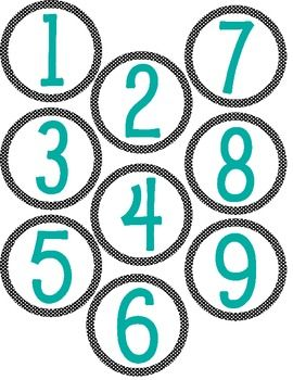 Super cute Polka Dot Number Labels to spruce up any classroom area. I use them during Math Workshop. I place them on the center bins and assign cen...