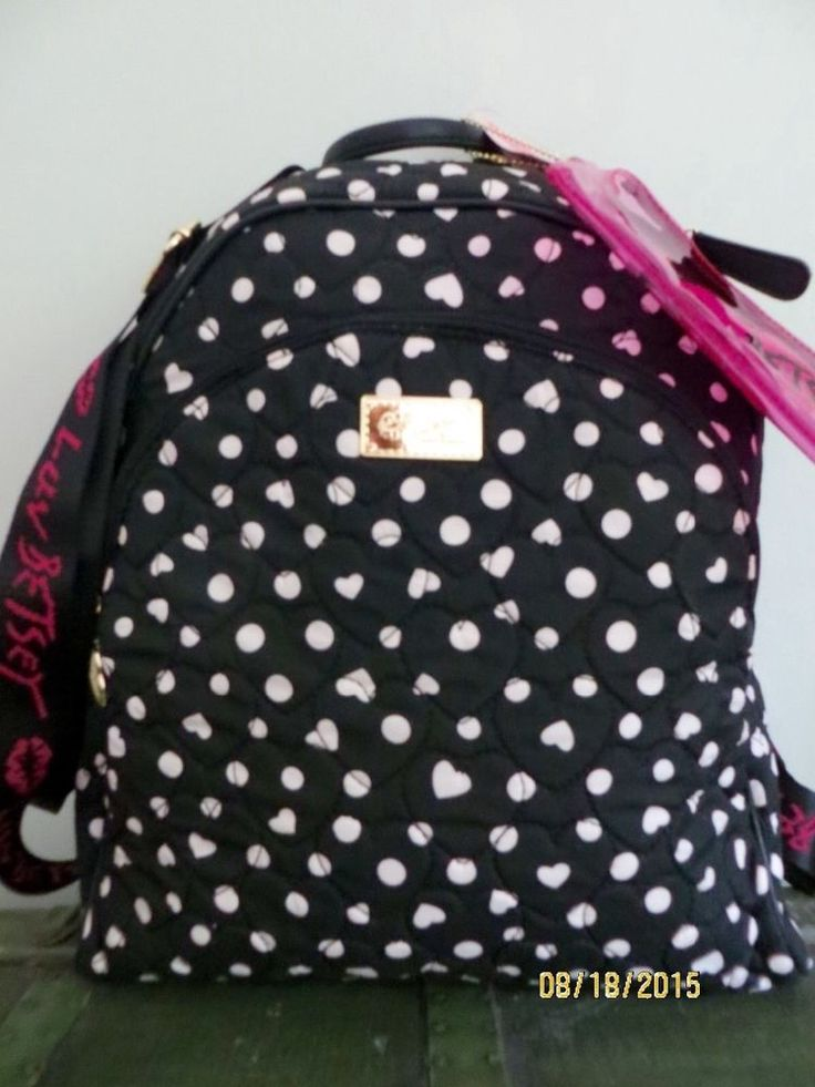 LUV BETSEY JOHNSON BACKPACK LARGE DOTS HEARTS SCHOOL TOTE BAG BLACK WHITE  NWT #BetseyJohnson #Backpack