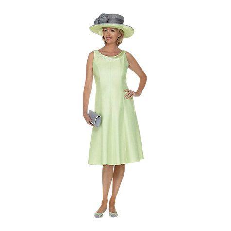 Pleated Neckline Dress, Apple